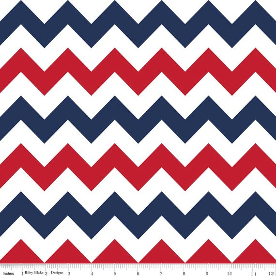 Red White Blue Medium Chevron Fabric Patriotic or 4th July