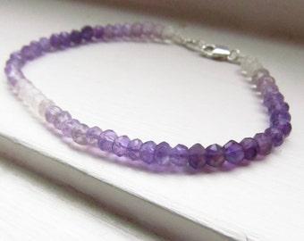 Amethyst bracelet purple silk thread silver delicate elegant stacking drape