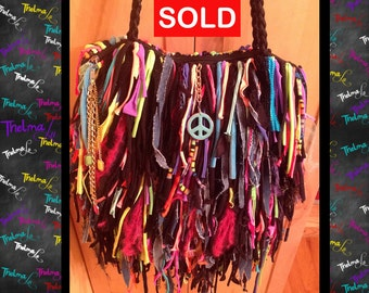 NEON  Fringe Handbag,Bag,Upcycle,Bling,Beads,Jewels,Rhinestone,Ultra Fringe,Custom Made,One Of A Kind, Hippie,BoHo,Funky,Purse,Tote