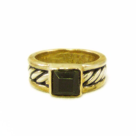 vintage estate gold and silver mixed metal ring with square opaque