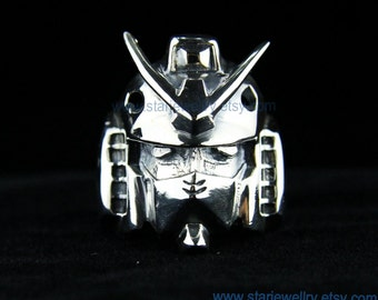 Steampunk The robot head ring Optimus ring ---925silver ring