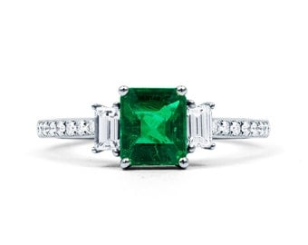 Zambian Emerald Engagement Ring