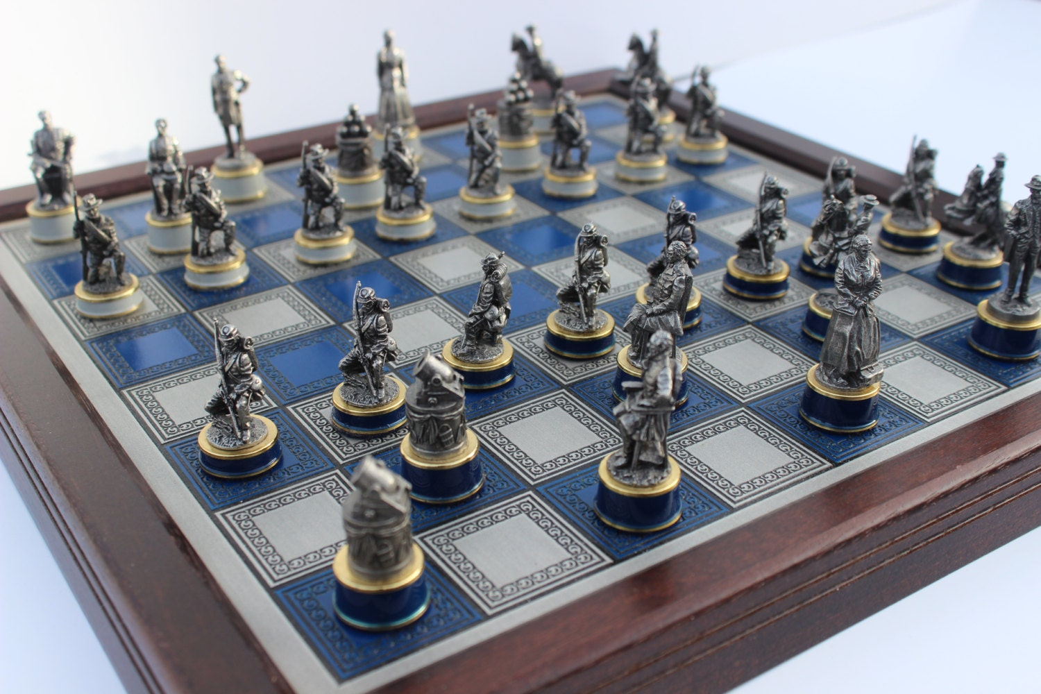 Civil war chess set pewter franklin mint 1980 39 s - Collectible chess sets ...