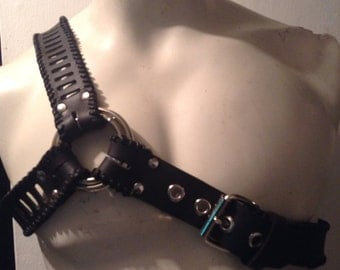 Leather Asymmetrical Harness(your choice of leather color and wax cord color)