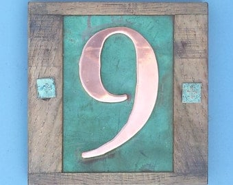 "Eco friendly Copper House 3""/75mm, 4""/100mm number with oak frame 1 x nos in Garamond, unique on the web e"