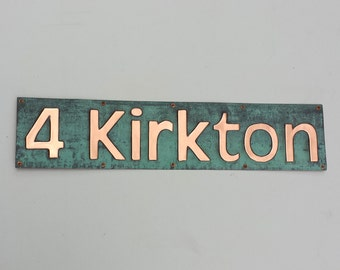 "Copper House Address Plaque - modern font, 3"" characters polished, laquered and patinated"