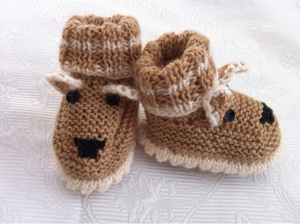 Knitting Patterns For Dog Booties : SALE knitted knit wool baby booties socks shoes.Wool by dream60