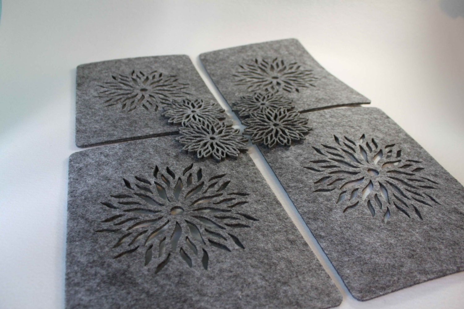 Only Grey Placemats And Coaster Flames Aster Flower Felt Table