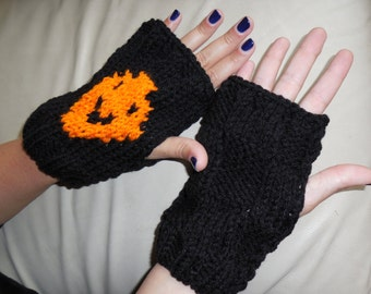 Halloween gloves, Thanksgiving fingerless, black orange gloves