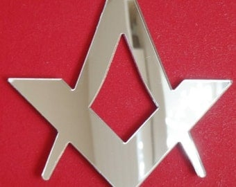Compass and Set Square (Freemasons) Shaped Mirror - 5 Sizes Available