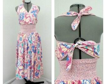 Vintage 80s Colorful Dark Pink Floral Halter Dress, Jeanne Marc, Tie Back, Full Skirt, Shirred, Midi Dress, Summer Sun Dress