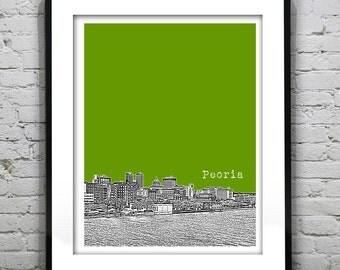 Peoria Illinois Poster Skyline Art Print  IL Version 2