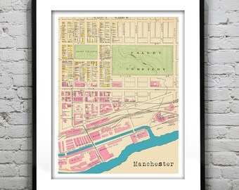 Manchester Poster Art Print Old Vintage Map New Hampshire NH