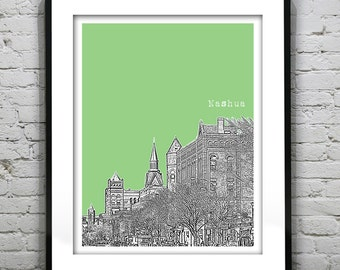 Nashua New Hampshire Poster Print Art Skyline NH Version 3