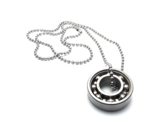 Kinetic Spinning Ball Bearing Necklace, Stainless Steel, ADHD/OCD/Addiction
