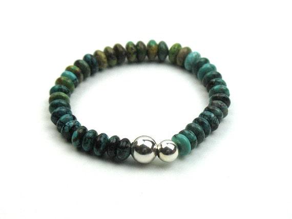 Green Turquoise Stretch Bracelet Gift for Her with Sterling Silver Beads, Semiprecious Stackable Bracelet, Womens Artisan Jewelry