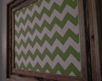 Rustic Barnwood Framed Bulletin Board - Green Chevron