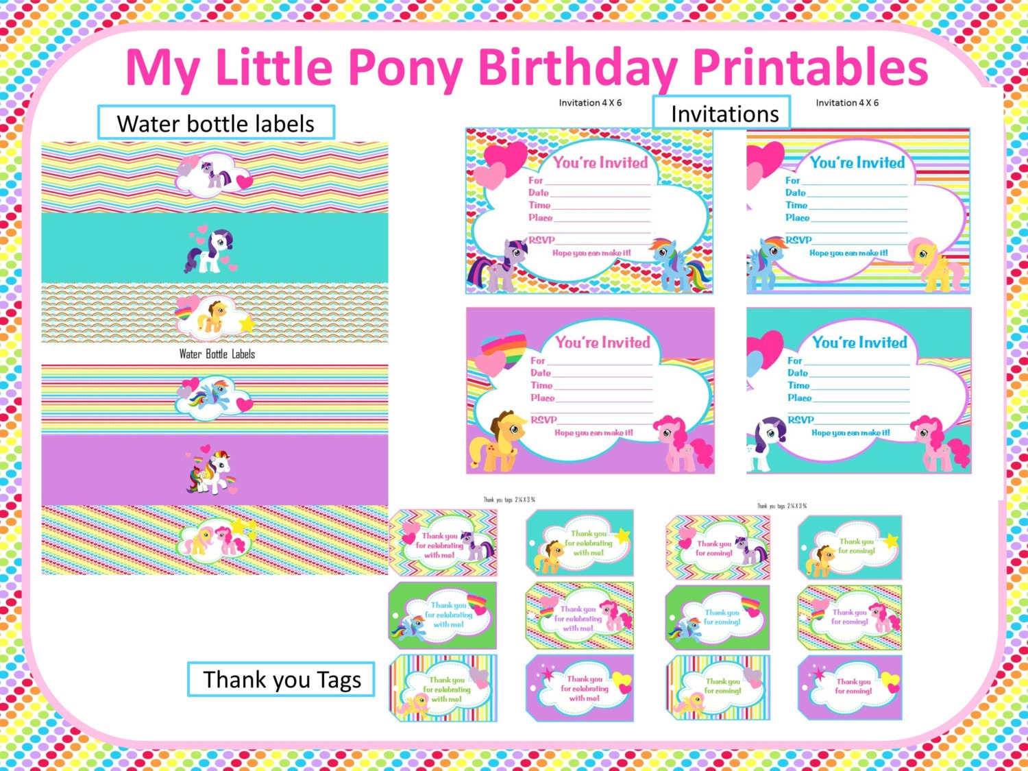my little pony rainbow birthday printables. Black Bedroom Furniture Sets. Home Design Ideas