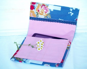 SALE!iPad Sleeve / iPad Case / iPad Cover / iPad Organizer -Floral  Blue & Pink with Blue Cotton Lace,Padded, PC tablet Case