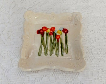 Bright Flower Meadow Spoon Rest, Soap Dish, Ring Holder, Tapas Plate