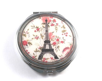 PARIS POCKET MIRROR - Eiffel Tower mirror - pocket mirror - Paris - mirror - purse mirror - Eiffel Tower - pink mirror, pink flowers