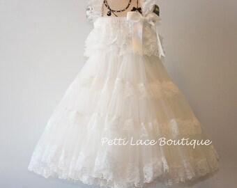 Off White dress, Flower girl dress,pettiskirt dress, tutu dress,  pettiskirt dress. chiffon dress