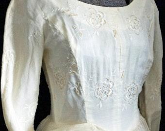 1950s Womens Ivory Beaded Silk Wedding Dress Sz 6 Vintage Retro