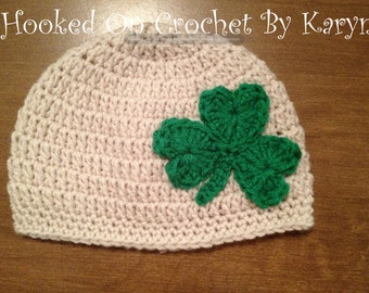 Irish St. Patrick's Day Crochet Hat Shamrock