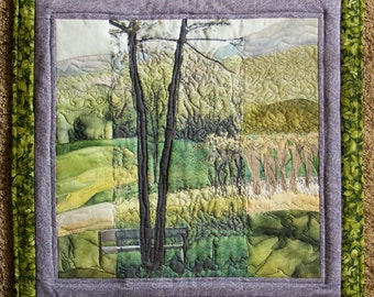 Hand painted art quilt, wallhanging - From my cabin door