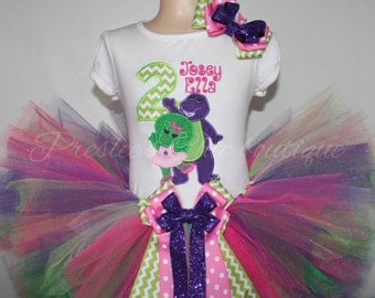 Barney & Baby Bop, chevron number, Birthday tutu set. Perfect for a Barney themed Birthday party! Set includes a shirt, tutu and hairbow