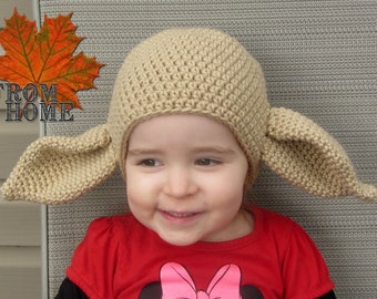 6-12 Month Ready to Ship Dobby the House Elf Crochet Hat - Baby, Toddler, Child, Adult - Costume, Character, Sci-Fi