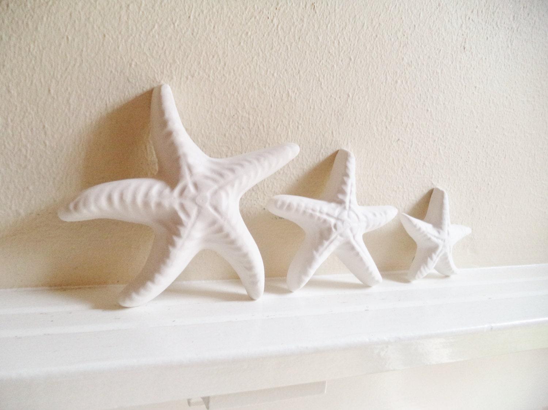 Sea glass green starfish wall decor, nautical decor, starfish sculptures