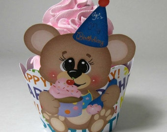 Happy Birthday cupcake wrappers, bear birthday cupcake wrappers, birthday cupcake wrappers, cupcake wrappers for children