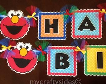 Sesame Street, Elmo party decorations, Elmo Happy Birthday Banner