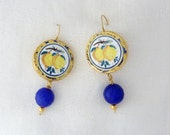Mother's day gift Sicilian earrings with lemons - Dangle earrings in lava stone  gold leaf  and blu agate -  memories of Sicily- READY