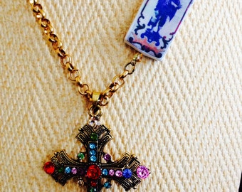 Necklace with beautiful antique cross.