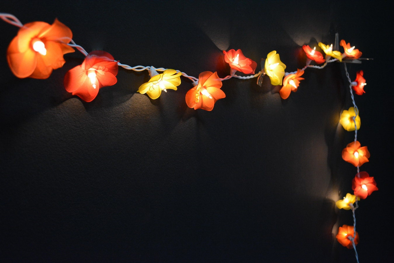Flower String Lights Nz : 20 Lights Orange Tone Orchid Flowers String Lights by YooCotton