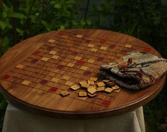 Scrabble Board Game Art(Round) (Black Walnut)