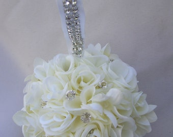 Off White Rose Kissing Ball, with Rhinestones and Bling,Pomander,Rose Ball