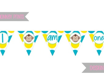 DIY - Boy Mod Monkey Birthday High Chair  Banner- Coordinating Items Available