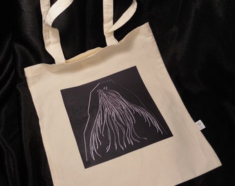Cotton Tote Bag with Original Fossil Fish Drawing