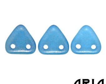 HALO AZURITE: 6mm Two-Hole Czech Glass Triangle Beads (10 grams)