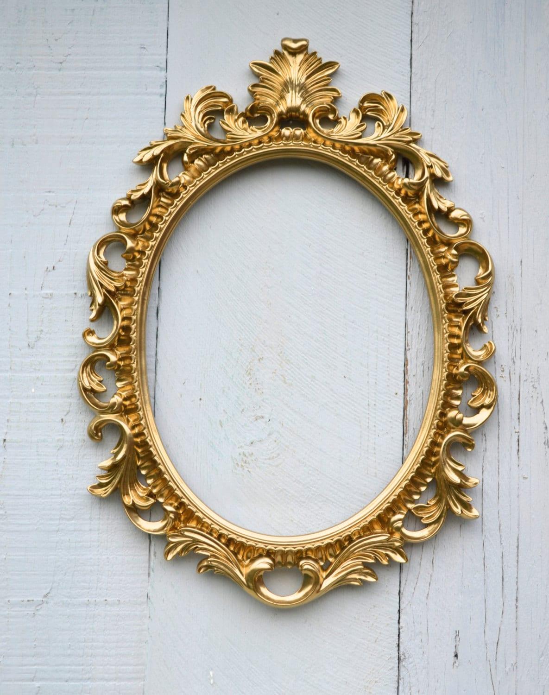 Gold Oval Frame Ornate Frame / Wedding Anniversary Reception