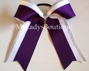 Silver White Purple Cheer Bow - #180290128