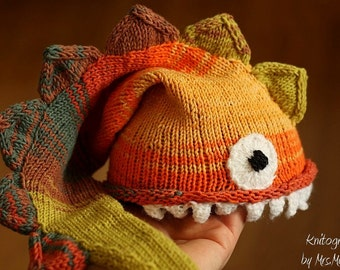 Dragon hat - handknit funny hat for kids and adults, lizard or dragon hat, made to order, all colors possible, baby shower, photo prop