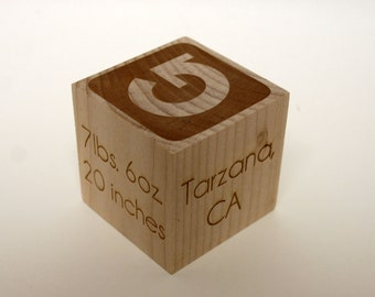 Personalized wooden baby blocks, Solid Hard Maple Christening block, baptism block, personalized baby block. Comes with free gift box