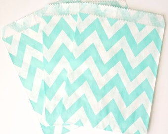 Light Blue Chevron Favor Bags (24 Count) Goodie Bags, Sandwich Bags, Candy Bags - Wedding, Birthday, Bridal Shower, Baby Shower, Gift