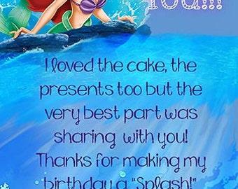 Digital The Little Mermaid Thank You Card, Ariel Thank You Card, The Little Mermaid Party Printables