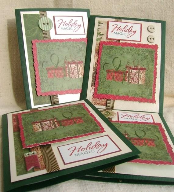Elegant handmade christmas card deckled edgesrustic charm for Elegant homemade christmas cards