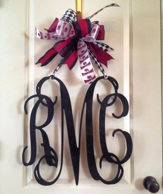 items similar to 20 inch 3 letter wooden front door monogram with bow gamecock monogram. Black Bedroom Furniture Sets. Home Design Ideas